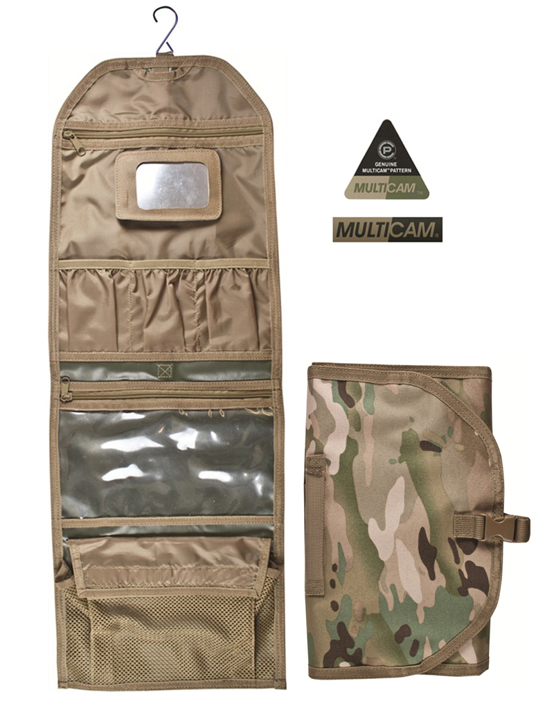 Army Combat Military Hanging Wash Shave Toilet Travel Mirror Bag Kit Roll Black